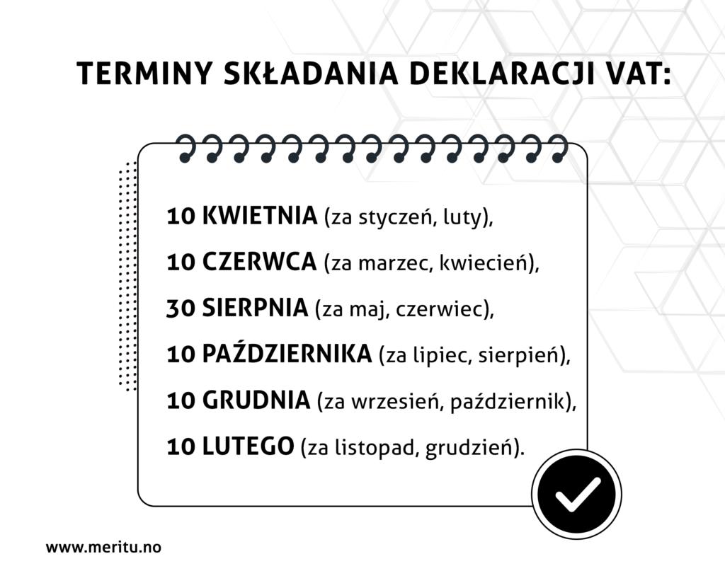 Terminy składania deklaracji VAT w Norwegii