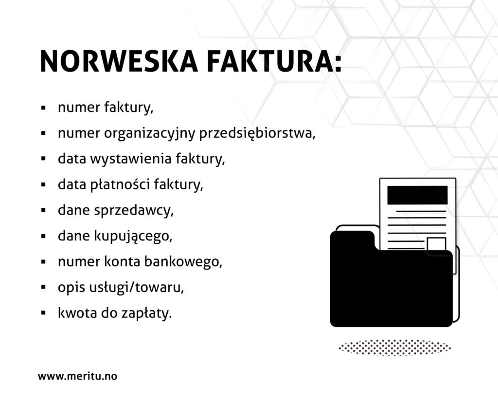 Jakie dane powinny znaleźć się na fakturze w Norwegii?